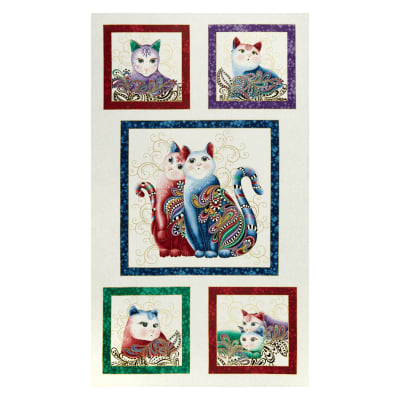 "Cat-I-tude 2 PurrFect Together 24"" Panel White Multi"
