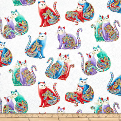 Benartex Cat-I-tude 2 PurrFect Together Playful Cats White/Multi