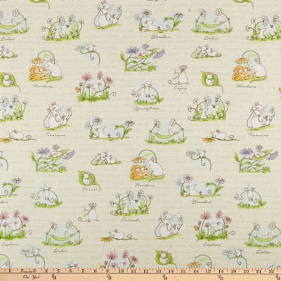 Clothworks Daisy, Daisy Scene Light Khaki