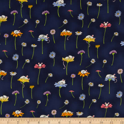 Clothworks Daisy, Daisy Toss Light Navy