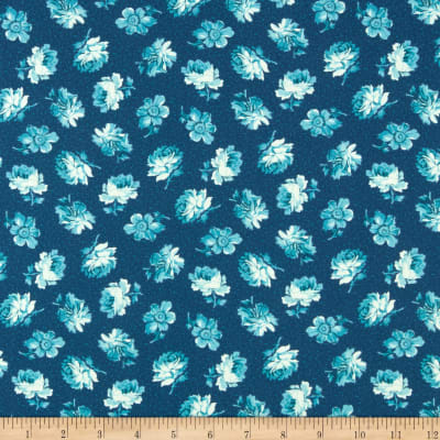 Clothworks Around the Roses Toss Dark Teal