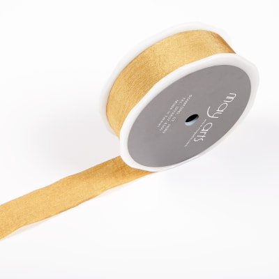 "1"" Faux Silk Wrinkled Ribbon Gold (Roll, 50 yards)"
