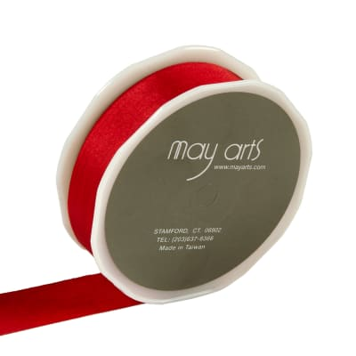 """1"""" Faux Silk Wrinkled Ribbon, Red (Roll, 50 yards)"""