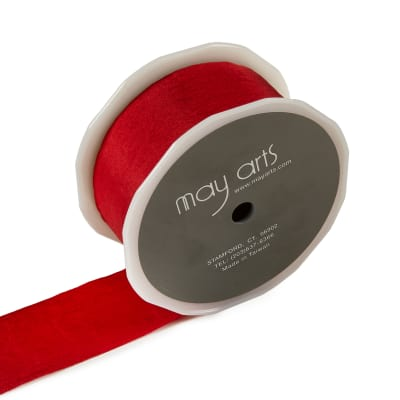 """1.5"""" Faux Silk Wrinkled Ribbon, Red, (Roll, 50 yards)"""