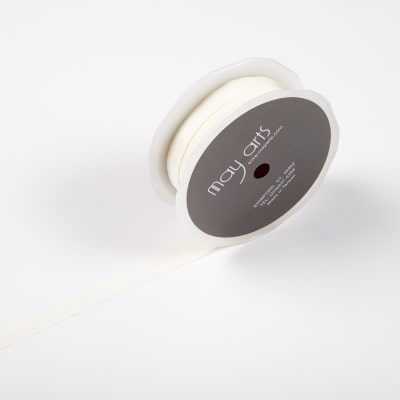 """1/2"""" Faux Silk Wrinkled Ribbon, Ivory (Roll, 50 yards)"""