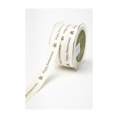 3/4 Bespoke Cotton Canvas Ribbon, Happy Anniversary Print (Roll, 30 yards)