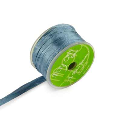"1/4"" Silk Ribbon, Dusty Blue Grey (roll,54 yards)"