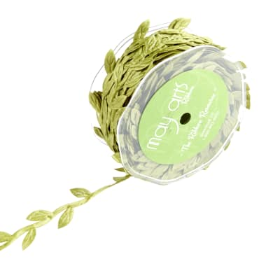 Classic Leaves Ribbon, Olive (Roll, 30 yards)