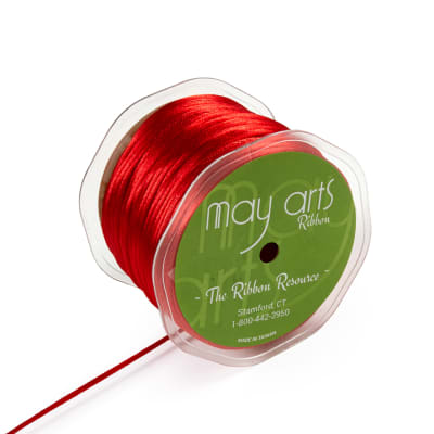 "1/8"" Satin String Rattail Cord, Red (Roll, 100 yards)"