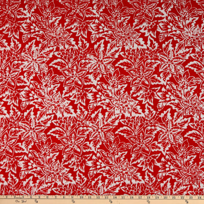 Anthology Fabrics Cow'S Skull Art Inspired Batik Botanical Red