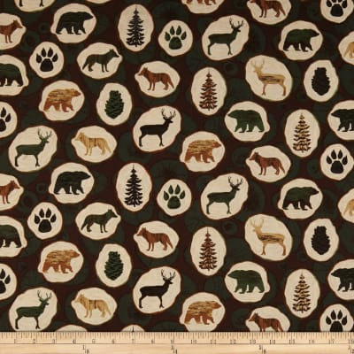Windham Fabrics Home Sweet Cabin Wood Slices Brown