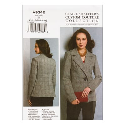Vogue V9342 Claire Shaeffer Misses' Jacket E5 (Sizes 14-22)