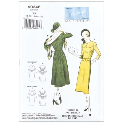 1940s Sewing Patterns – Dresses, Overalls, Lingerie etc 1947 Vogue V9346 Vintage Misses Dress E5 (Sizes 14-22) $21.00 AT vintagedancer.com