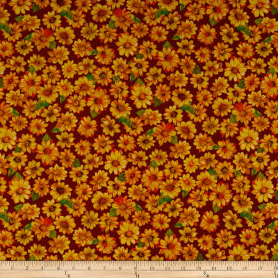 QT Fabrics  Autumn Bounty Sunflowers Wine