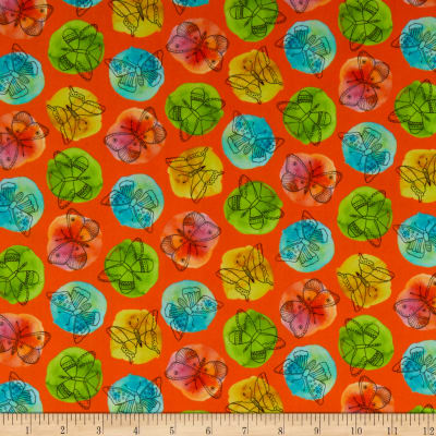 QT Fabrics  Fly Free Sketched Butterflies On Dots Orange