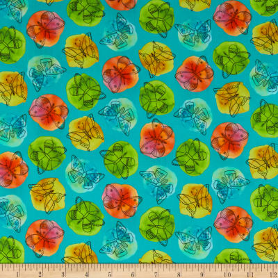 QT Fabrics  Fly Free Sketched Butterflies On Dots Aqua