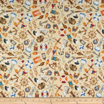 QT Fabrics  Smooth Sailing Nautical Toss Tan