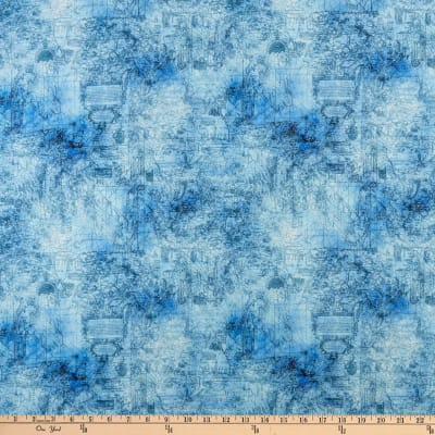 QT Fabrics  Smooth Sailing Map Blender Blue