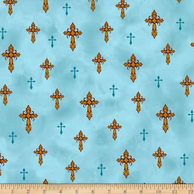 QT Fabrics  Amazing Grace Crosses Lt. Teal