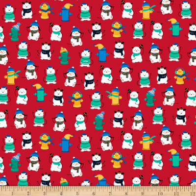 QT Fabrics Ink & Arrow Chilly Dogs Winter Dogs & Fire Hydrants Red