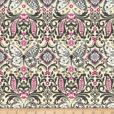 Butterfly Dream Butterfly Damask Cream/Fuchsia