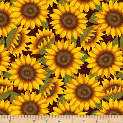 Thankful And Blessed Packed Sunflowers Brown