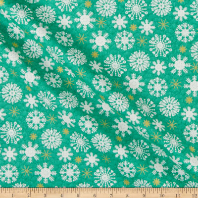 Andover/Makower UK Merry Snowflakes Green