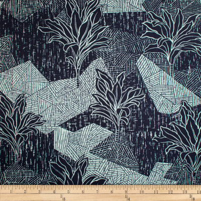 Trans-Pacific Textiles Hawaiian Ti Leaf Tribal Gray