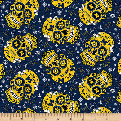 Ncaa Michigan Sugar Skull Cotton Discount Designer