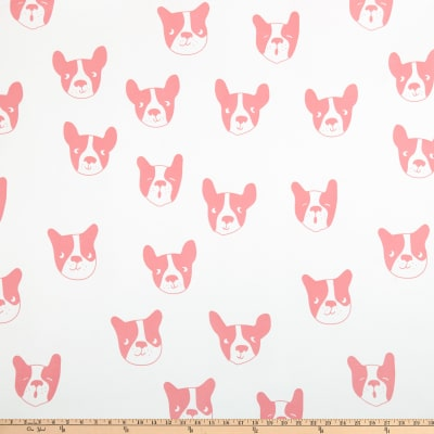 Double Brushed Poly Jersey Knit Boston Terrier Pink