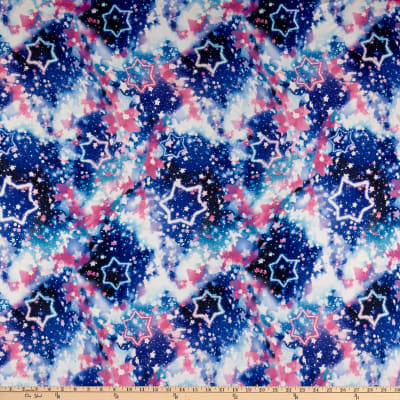 Double Brushed Poly Jersey Knit Galaxy Pink/Blue