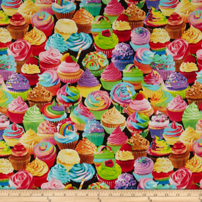 Timeless Treasures Sweet Tooth Colorful Cupcakes Multi