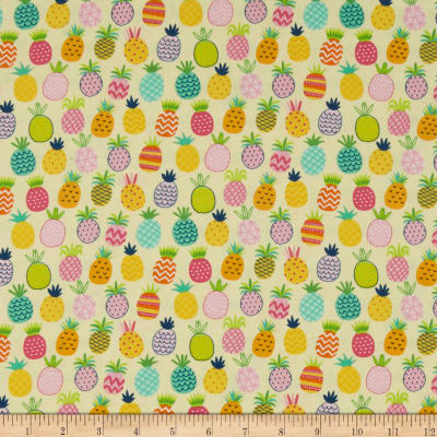 Timeless Treasures Summer Days Allover Pineapples Yellow