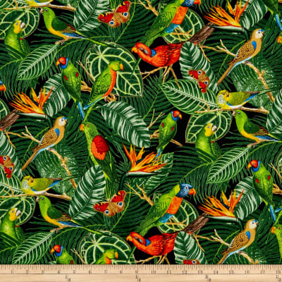 Timeless Treasures Tropical Perched Birds Green