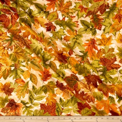 Timeless Treasures Metallic Autumn Palette Allover Leaves Cream