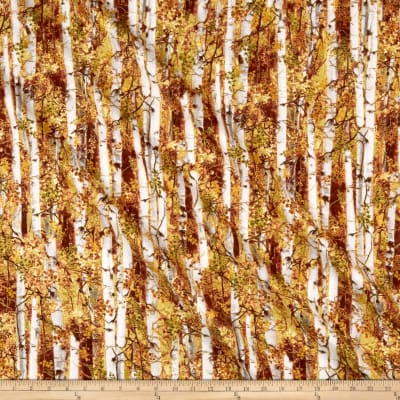 Timeless Treasures Metallic Autumn Palette Birch Trees Rust