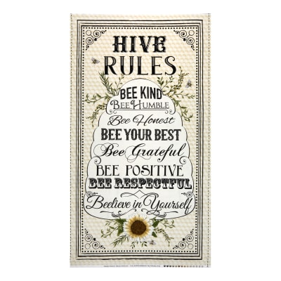 "Timeless Treasures Hive Rules 24"" Bee Hive Rules Panel Natural"