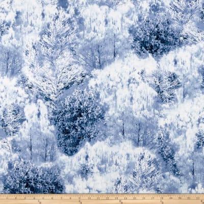 Timeless Treasures Winter Freeze Snow Covered Trees Smoke