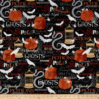 Timeless Treasures Boo Crew Spell & Potions Black