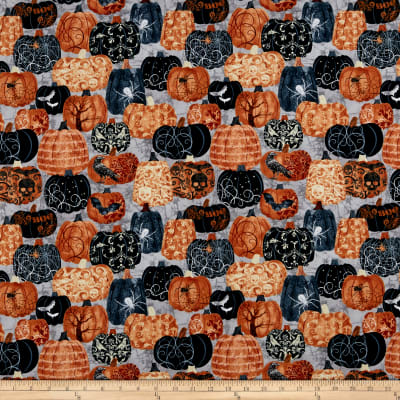 Timeless Treasures Boo Crew Pumpkins With Designs Grey