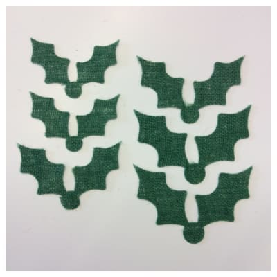 18-Pack Art to Sew Adhesive Burlap Holly Leaves Christmas Green