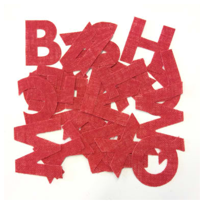 62-Piece Art to Sew Laminated Burlap Letters Alphabet Christmas Red