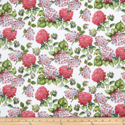 Telio Digital Stretch Cotton Sateen Hydrangea White Pink