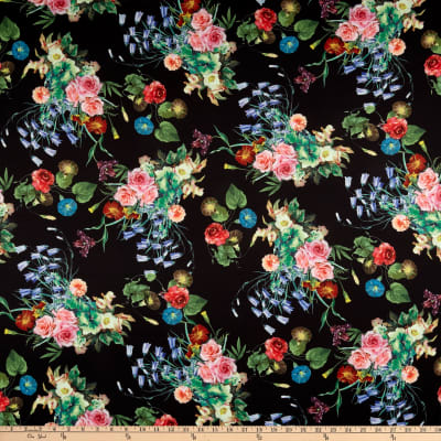 Telio Digital Stretch Scuba Botanical Floral Print White Multi