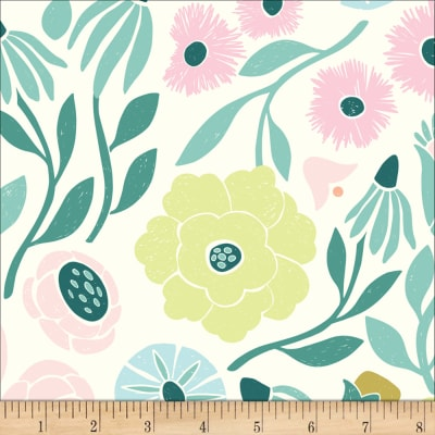 Cloud9 Fabrics Organic Ethereal Jungle Ethereal Vines Green/Pink Multi