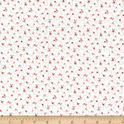 Stoffabric Denmark Quilters Basic Dusty Rosettes Ivory/Pink