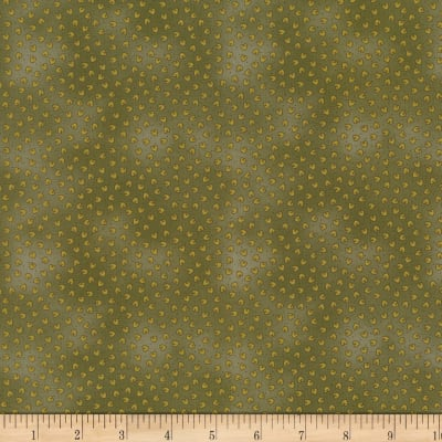 Stoffabric Denmark Quilters Basic Dusty Mini Hearts Green
