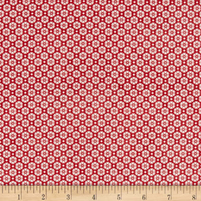 Stoffabric Denmark Quilters Basic Memory White Flowers On Red