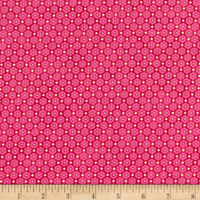 Stoffabric Denmark Quilters Basic Memory Tight Flowers Fuschia
