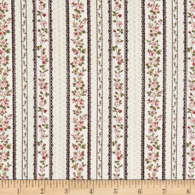 Stoffabric Denmark Juliet Roses Border Stripes With Roses Wine